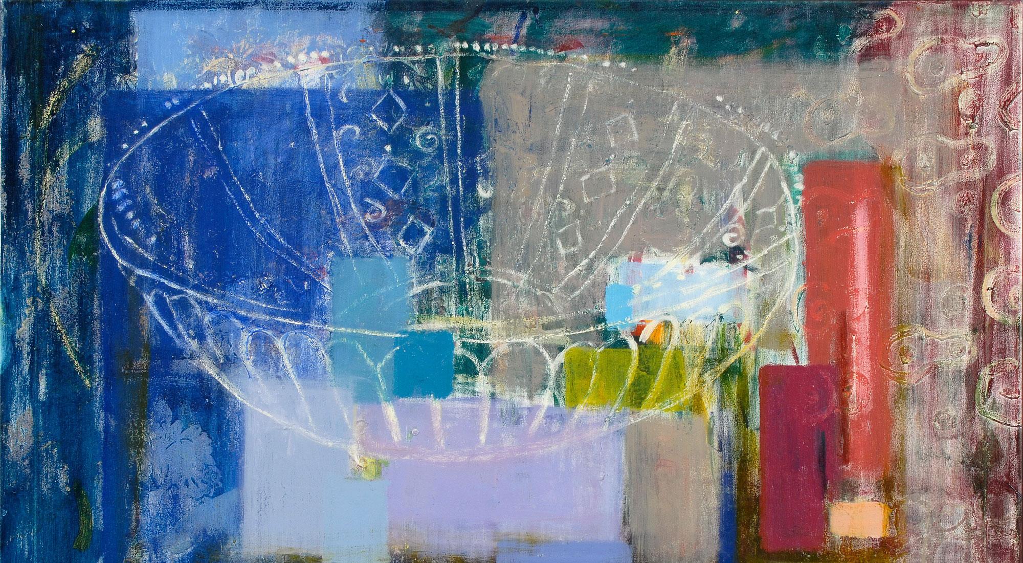 "Abstrakt maleri fra udstillingen ""Skrin og tavler"" med Bettina Winkelmann på Himmerlands Kunstmuseum"