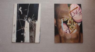 """To abstrakte billeder fra udstillingen """"Pavillion of the naked"""" med Claus Carstensen på Himmerlands Kunstmuseum"""