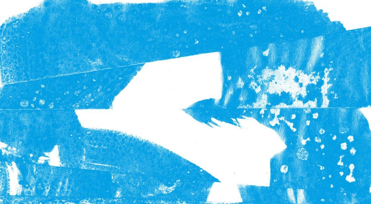 """Abstrakt billede i farverne cyan og hvid fra udstillingen """"Grønland Nu"""" på Himmerlands Kunstmuseum"""