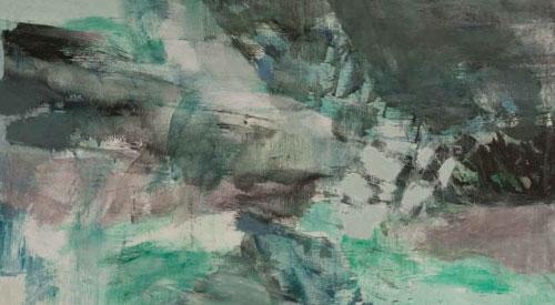 """Maleri af Hardy Brix fra udstillingen """"Skyggespil - det polare landskab"""" på Himmerlands Kunstmuseum"""