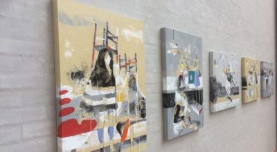 """Fem malerier fra udstillingen """"Ansigt til ansigt"""" med Janusz Tyrpak på Himmerlands Kunstmuseum"""