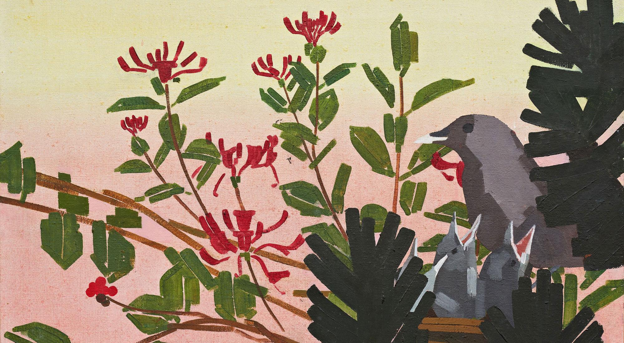 """Billede med fugl og røde bær fra udstillingen """"I landet med de røde bær"""" af Lise Blomberg på Himmerlands Kunstmuseum"""