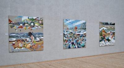"""Tre billeder fra udstillingen """"Havet"""" med Martin Bigum på Himmerlands Kunstmuseum"""