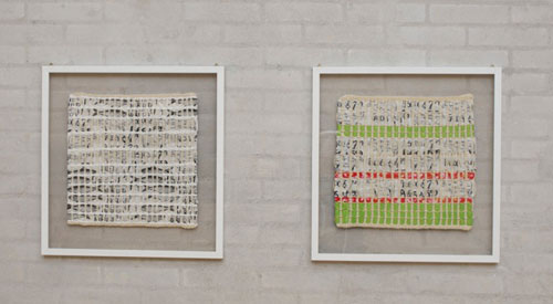 """Vævede billeder af Randi Lium på udstillingen """"Stederne ER der"""" på Himmerlands Kunstmuseum"""